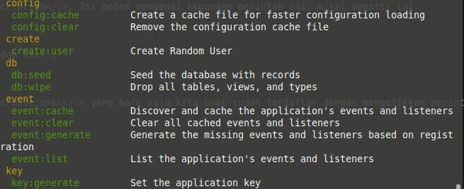 List of artisan command in laravel php framework