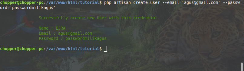 Execute an artisan command to create random user with specified email and password in laravel