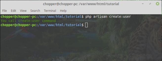 Test new artisan command in laravel php framework