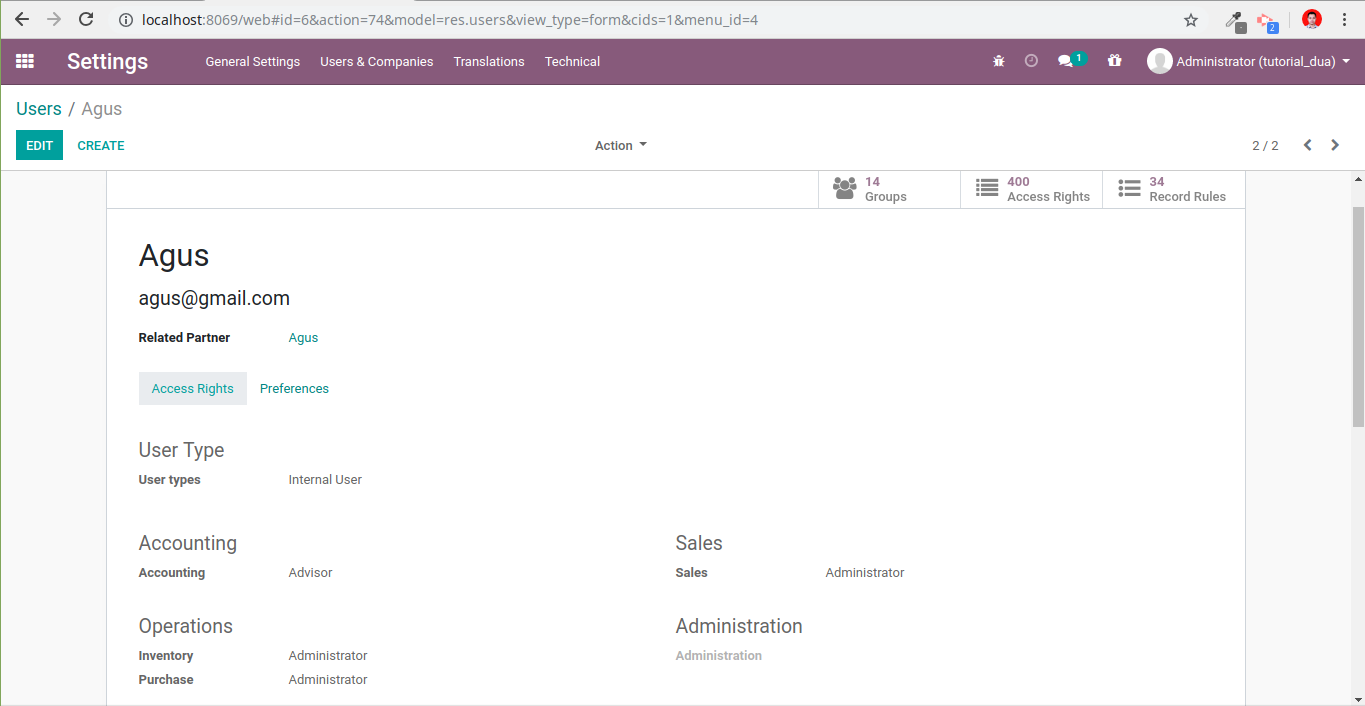 Master user in odoo