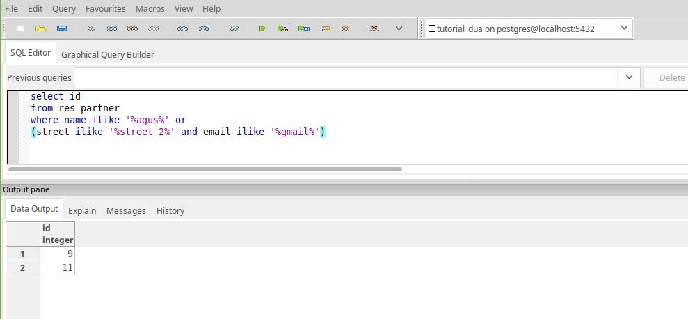 Postgre SQL query result in PG Admin