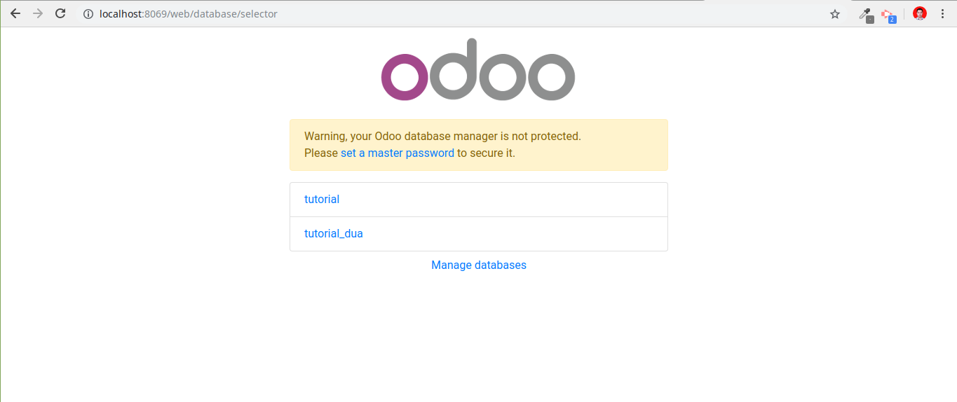 Select odoo database
