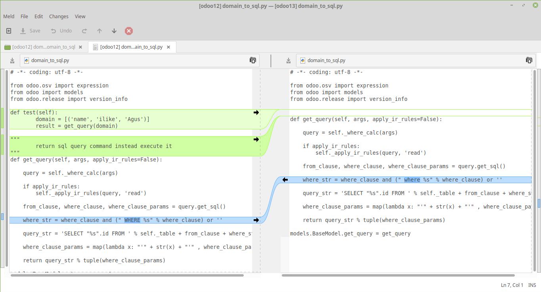 Compare 2 file contents in Meld