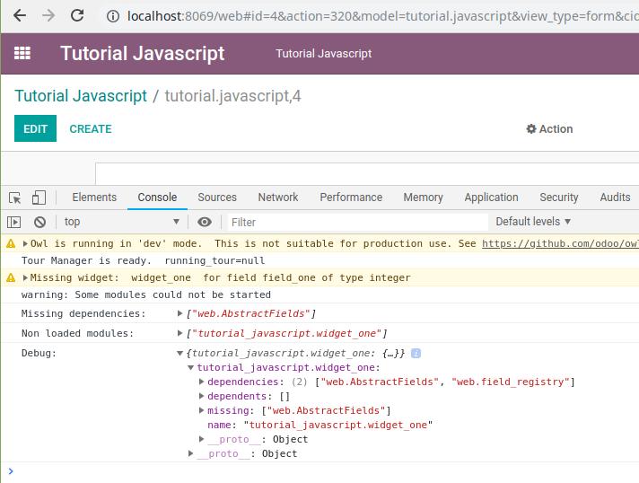 Odoo javascript error message