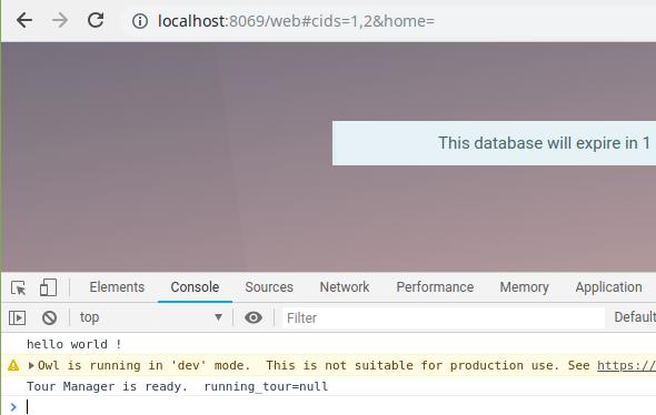 javascript programming in odoo - helo world