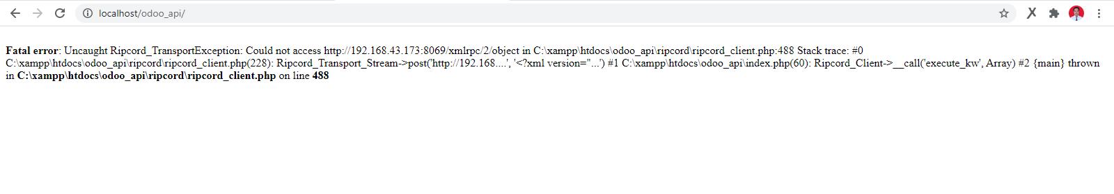 Ripcord tidak bisa tersambung dengan server odoo