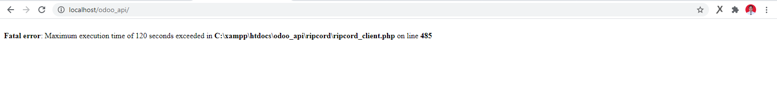 Ripcord menyebabkan error maximum execution time