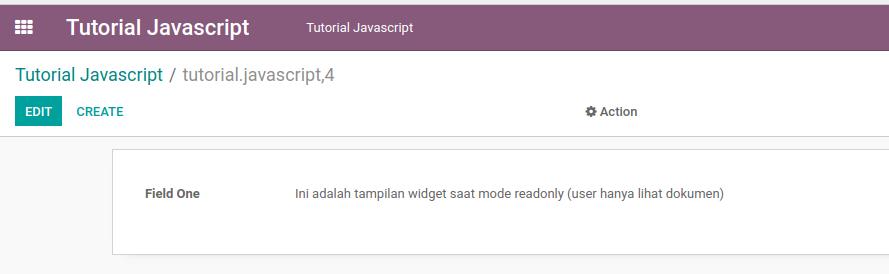 Hasil tutorial membuat widget odoo